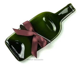 Melted Wine Bottle Cheese Tray with Cheese Spreader and Plum Ribbon, Upcycled Glass
