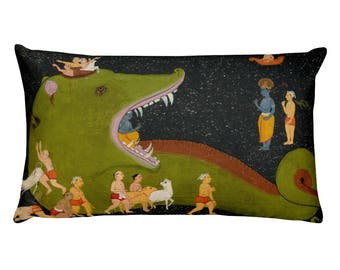 Mewar School, Krishnas Victory Over Aghasura - Rectangular Pillow