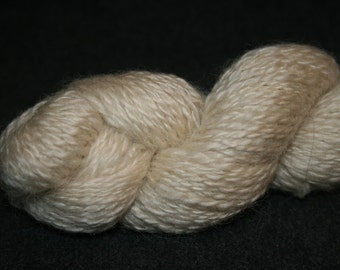 Leicester Longwool, handspun yarn, natural white, 2 ply, worsted weight, (9 - 10 w.p.i.), 164 yards.