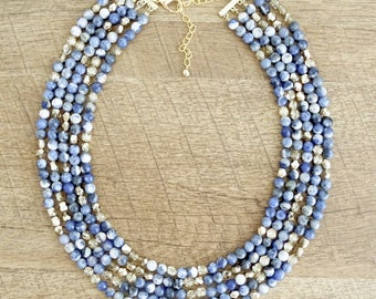 The Tempeste Layered Statement Necklace, Aventurine Necklace, Multistrand Necklace, Blue Statement Necklace, Semi Precious Stone Necklace