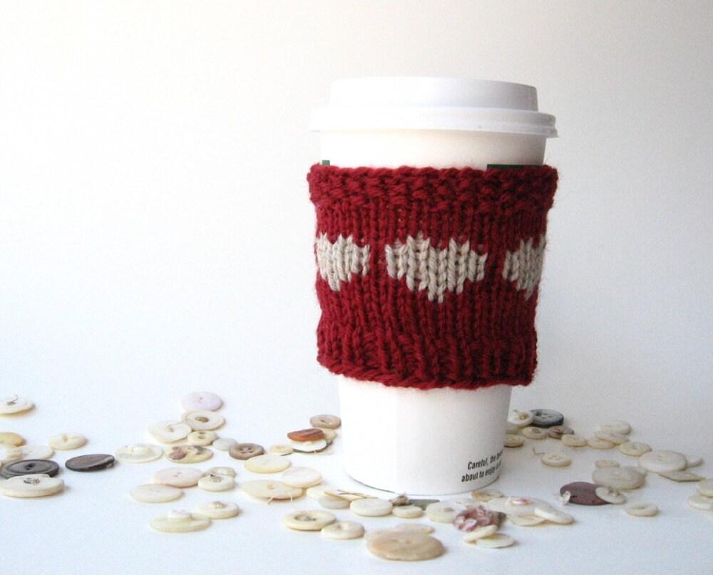 Heart Knitting Pattern, Coffee Cozy, Easy Knitting Pattern, Coffee ...