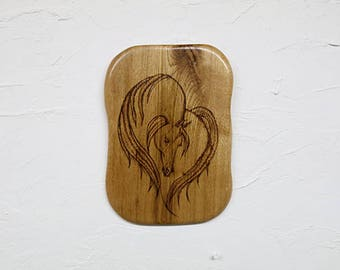 Pyrography Horse Plaque