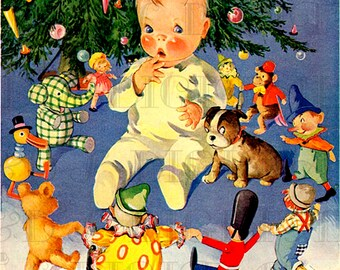 Baby Surrounded by Toys Vintage Christmas Card. VINTAGE DIGITAL Christmas Illustration.  Digital Christmas Download. Digital Christmas Card.