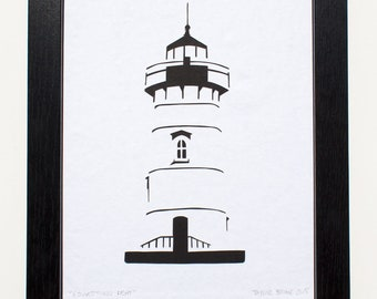 Lighthouse Cut Paper Illustration (Edgartown, Martha's Vineyard)