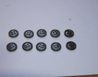set of 10 buttons 15 mm Brown