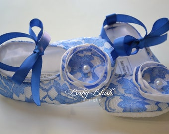 Royal Blue Lace on White Vintage Baby Shoes Ballerina Slippers