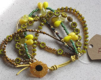 "NEW - Yellow Hibiscus Flower/Leather Bracelet, Adjustable 6""-8"", Yellow, Bronze, Turquoise, Mustard, Picasso, #6"