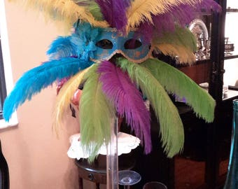 Masquerade, Carnival, Mardi Gras Ostrich Feather Bling Eiffel Tower Centerpiece-Masks-Sweet 16-Anniversary-Party-Ostrich Feathers