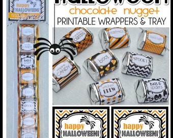 HALLOWEEN Chocolate Nugget Wrappers, SPOOKY Treat or Party Favor - Printable Instant Download