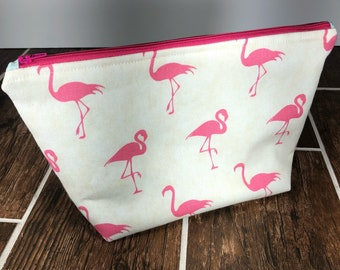 Large Flamingo Zippered Pouch, Make up Bags, Large Cosmetic Pouch,  College Student Gift, Travel Gift, Large Toiletry Bag, Summer Bag
