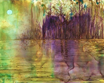 Purple Forest: Fine Art Print from alcohol ink painting