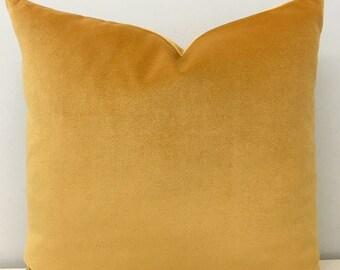 Mustard Cotton Velvet Pillow Cover, Mustard Pillows, Velvet Pillow, Decorative Pillows, Cushions, Mustard Velvet Pillow Case Covers