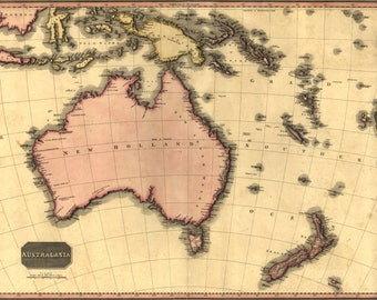 Poster, Many Sizes Available; Map Of Australia And New Zealand 1818