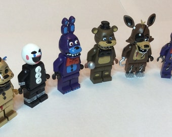 Five Nights At Freddy's FNAF Custom Lego Minifigures Mini Fig Set of 6