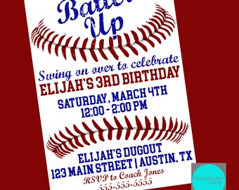 Baseball Birthday Party Birthday Card DIGITAL FILE  | 5x7