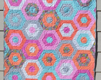 Bright, Striped Hexagon Quilt, Teen Quilt, Lap Quilt