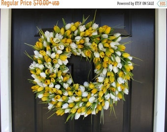 SUMMER WREATH SALE Easter Wreath- Easter Decoration- Spring Wreath- Tulips- Spring Decor- Spring Decoration- Tulip Wreath