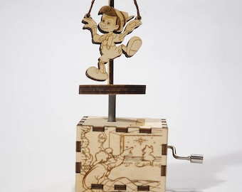 Pinocchio music box - When You Wish Upon A Star - Laser cut and laser engraved wood music box. Perfect gift, memorabilia or collectible