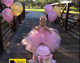 Beautiful baby girl first birthday dress in pink and gold bling straps and number one 12-18 months