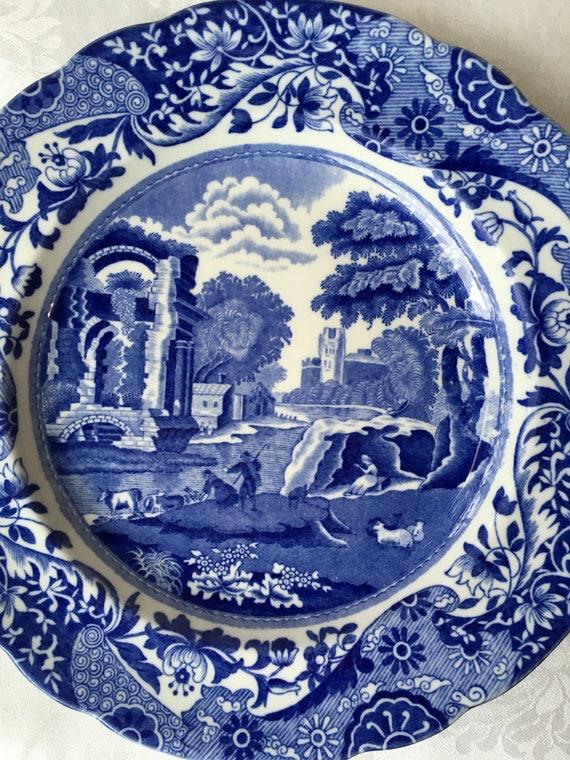 "Set/2 Copeland Spode's Italian Blue And White 9"" Plates"