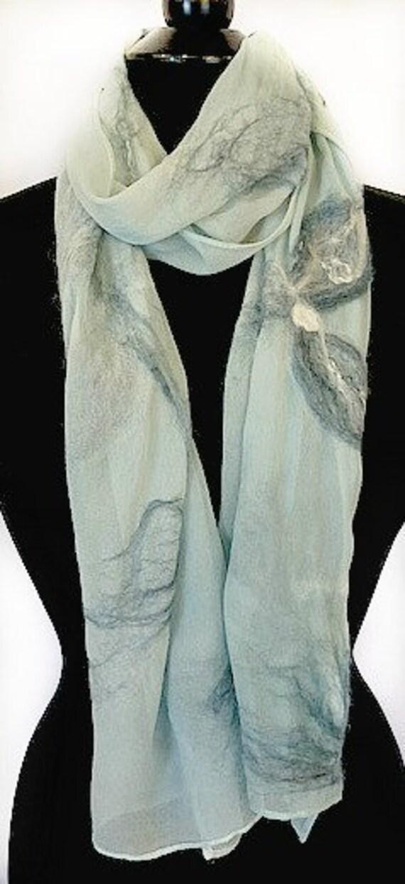 Blue Felted Scarf, Silk Wrap, Nuno Scarf, Pale Blue, Fashion Scarf, Wedding Accessories, GiftsforHer, GracefulEweFiberArts: Peace & Serenity