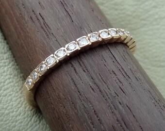 Thin 1.8 mm wide  Rose Gold Diamond Wedding Band 1/2 Way Set Diamonds Solid 14k Pink Gold