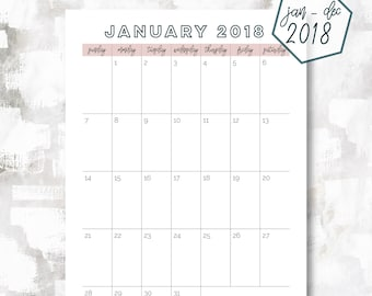 The 1 Page Calendar, Sunday Start | January - December 2018 | A5 Size | Printable Planner | Printable Calendar | OG Style