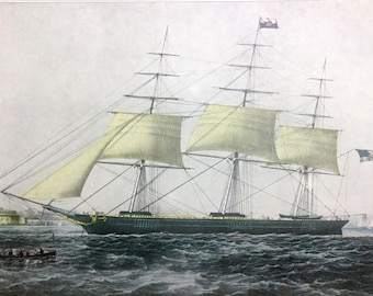 CURRIER & IVES Art Print Clipper Ship Nightingale boat at Sea in 1800s Vintage 1952 Print