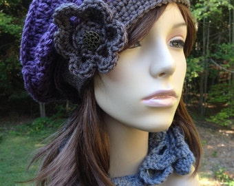 Slouchy Beret Purple and Taupe with Flower and Vintage Button