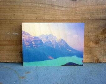 Woodblock art, photo print - Peytoe Lake landscape photograph