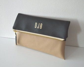 Two-tone Foldover Clutch, Black / Beige Personalized Clutch, Bridesmaid Gift, Wedding Purse, Evening Clutch Bag