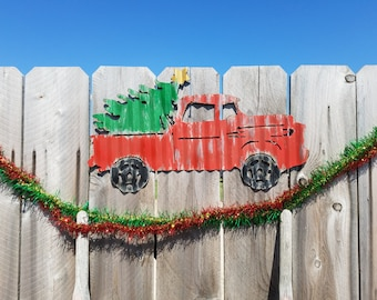 Painted Truck with Christmas Tree Corrugated Metal Sign/Holidays/Winter