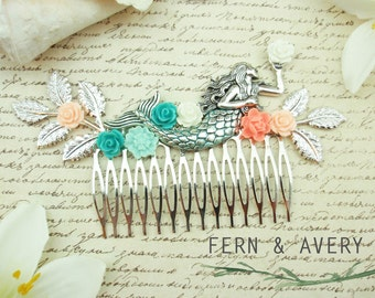 Silver turquoise coral mermaid hair comb. Turquoise and coral hair comb. Aqua blue hair clip