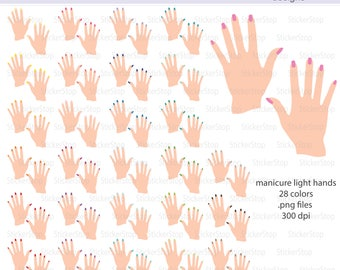 Manicure Light Hands Icon Clipart in Rainbow Colors - Instant download PNG files