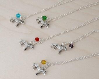 BFF Necklace | Wolf Necklace  | Wolf Pack Necklace | Silver Wolf Charm Necklace | Best Friend Birthstone Necklace -ONE Necklace-