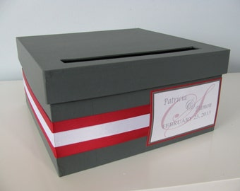 Modern Wedding Card Box Small Wedding Card Box Charcoal Gray and Red Custom Card Boxes Destination Wedding Reception Gift Card Box Handmade