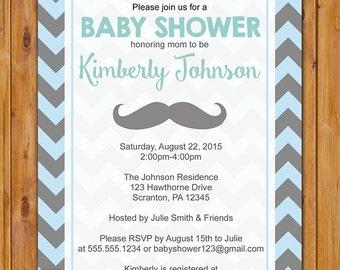 Mustache Little Man Chevron Baby Shower Invitation Blue Gray birthday Invite Baby Boy Printable 5x7 Digital JPG (407)
