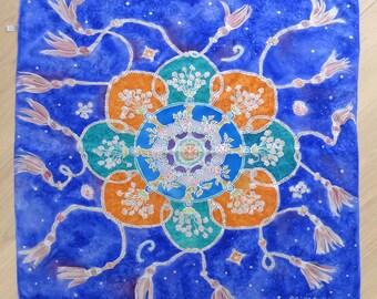 Hand painted silk mandala shawl