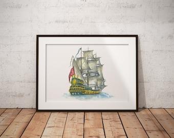 Nautical art decor nursery prints sailboat painting on canvas Ocean art ships drawings sea artwork for kids room wall decor boat watercolor