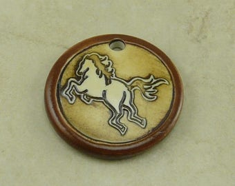 """Cocoa Tang Horse Disk Pendant - Stallion Mare Colt Filly Western Rodeo Ivory Brown Clay River Designs 1 1/4"""" Diameter I ship Internationally"""