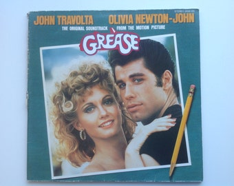 SALE  GREASE MUSICAL soundtrack, vintage album 2lp, John Travolta Olivia Newton John, 1970s music, You're the one that i want, Barry Gibb