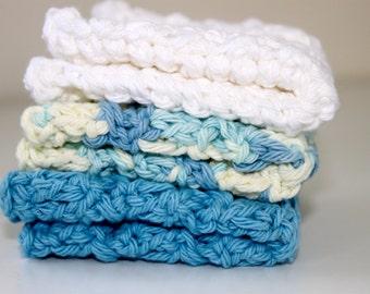 100% Cotton- Set of 3 Crochet Dishcloths - Jack Frost- Hostess/Wedding Gift- Ready to Ship