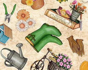Quilting Treasures A Gardening We Grow Cream Off White Garden Tool Floral Boot Glove Fabric BTY 26496-E