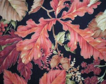 patchwork fabric autumn leaves bordeed gold