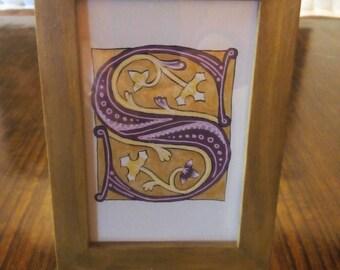 Initial - Illuminated illuminated Gothic - letter choice - 100% handmade