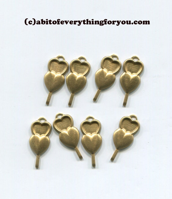 8 double heart charms vintage metal brass pendants 9mm x 19mm jewelry supplies