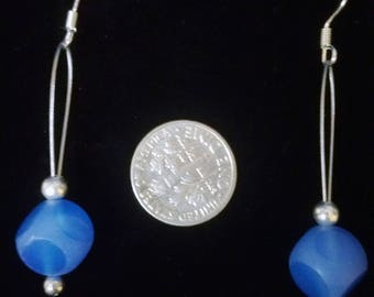 Blue glass cube drop earrings