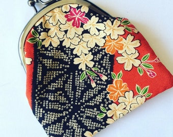Japanese clasp coin purse, Kisslock coin purse, Change purse, Pouch, Monedero, Japanese fabric, Gamaguchi, Jewelry purse, Sakura, Dragonfly