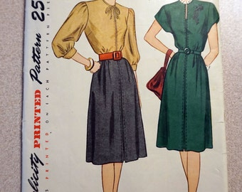 Vintage Simplicity 1828 - Rare 1946 Women's One-Piece Dress Pattern, size 14 *Bust 32*