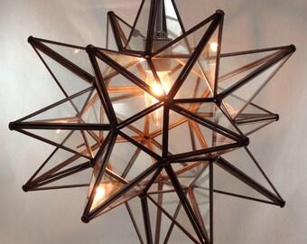 "Moravian Star Pendant Light, Clear Glass, 16"""